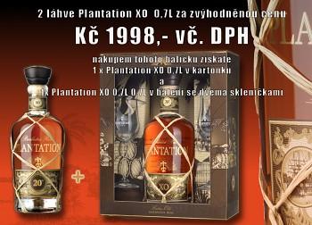 Akce kup 1 x Plantation XO 0,7L + 1 x Plantation XO v dárkovém balení se dvěma skleničkama za zvýhodněnou cenu